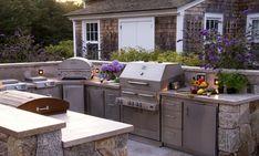 outdoor küche rustikal eingebaute elektrogeräte
