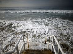 Oceans and Climate Change: A Bleak Outlook  by Stewart M. Patrick and Guest Blogger for Stewart M. Patrick	 November 3, 2015. - Waves crash against stairs to Broad Beach in Malibu, California, United States.