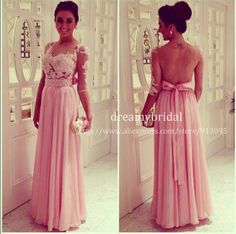 2014 Hot selling Vestido De Festa Sexy Sheer lace Nude tulle backless Scoop Neck Half Sleeve Pink Chiffon A Line Evening Dress $159.99