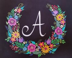 Floral Wreath Chalkboard Acrylic Painting Tutorial | Brush Stroke Techniques | Free Lesson by Angela Anderson | How to Paint Easy Flowers | Wedding Gift | Monogram Initial Art