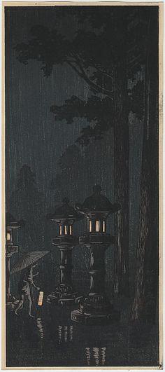 "Shotei, Takahashi 1871 - 1945, ""Night Rain in Nikko (Criptomeria Way)"" / Castle Fine Arts"