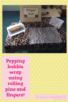Popping bubble wrap using rolling pins and little fingers promotes fine-motor development: also consider using other kid-friendly tools such as a mallet, golf tees, rocks, sticks, etc. Fine Motor Activities For Kids, Eyfs Activities, Nursery Activities, Motor Skills Activities, Gross Motor Skills, Reggio, Eyfs Classroom, Classroom Ideas, Finger Gym