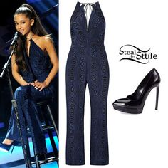 Ariana Grande performed at the Stevie Wonder Grammy Tribute concert yesterday wearing a Diane Von Furstenberg Ireland Jumpsuit ($500.00) and her Saint Laurent Janis Patent Leather Platform Pumps ($795.00). You can get the look for less with a jumpsuit from ASOS ($51.36) and pumps from Mango ($35.99).