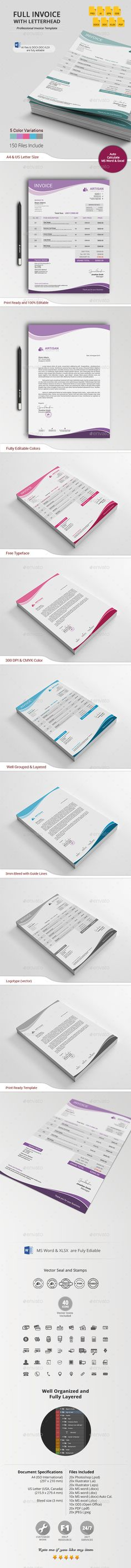 Invoice with Letterhead Template #design Download: http://graphicriver.net/item/invoice-with-letterhead/13377589?ref=ksioks