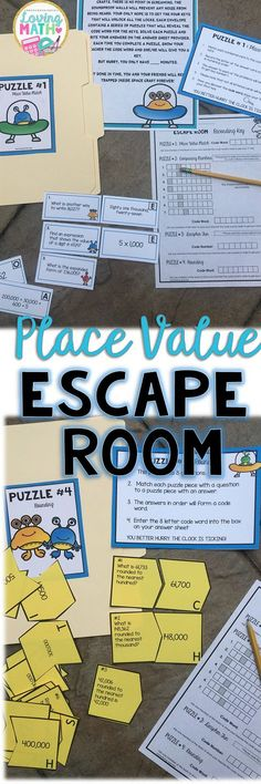 This is an Escape Room activity with an alien theme. The activity focuses on whole numbers place value (up to 6 digits). Students will answer questions about standard form, expanded form, word form, comparing numbers, and rounding. Fourth Grade Math, Third Grade Math, Math Place Value, Place Values, Math Stations, Math Centers, Learning Stations, Escape Room, Math Resources
