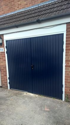 Midnight Blue Side HInged Garage Door installed in Oxfordshire Side Hinged Garage Doors, Garage Door Hinges, Garage Door Makeover, House Entrance, Midnight Blue, Home Renovation, Tall Cabinet Storage, Shed, House Design