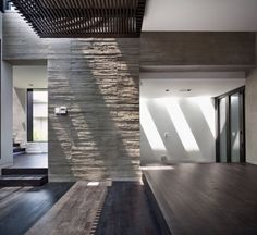 Modern Family House Design with Black Wooden Flooring Tile Gray Interior, Interior Design, Floor Design, House Design, Modern Family House, Wood Tile Floors, Wooden Flooring, Industrial House, Interior Architecture