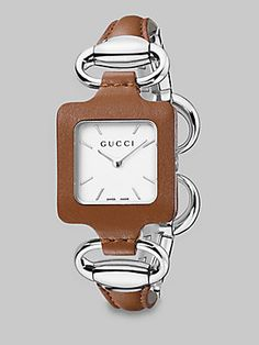 Gucci Stainless steel & Leather Bangle Watch