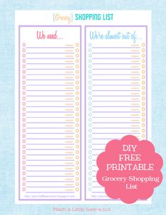 Free Grocery Shopping List I love how this one has a box to check for coupons! I usually forget which ones I have coupons for! Very cool!
