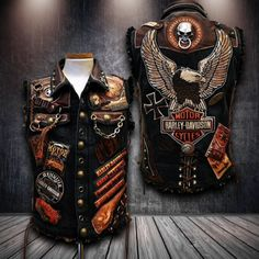 DESCRIPTION: Made of soft, heavyweight, split cowhide leather Has side laces Has satin lining Has front snap button closure Best Mens Leather Jackets, Custom Leather Jackets, Leather Hats, Cowhide Leather, Gothic Jackets, Punk Jackets, Motorcycle Vest, Biker Vest, Leather Working Patterns