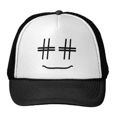 Trucker Hat - Funny & Cute Hashtag Smiley Cartoon Face - geek humor emoji / emoticon. His eyes are hashtags from staring at his screen too much being up late last night, or both. Cute gift for someone into social media (i.e. twitter, instagram, facebook, pinterest), internet / digital marketing, blogging, coding, tagging, gaining followers, entrepreneur blogger geek humor. #smm #seo #hashtagsmiley