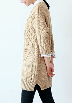 Crop Sleeves Splits Side Sweater - Khaki