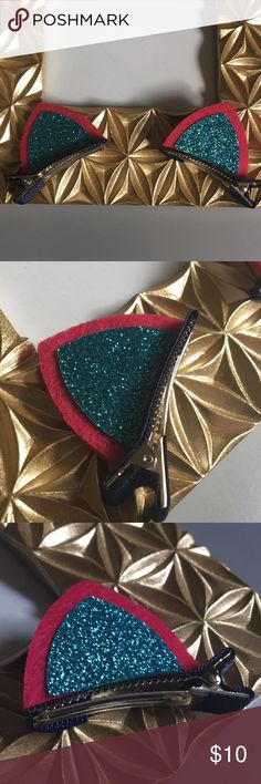 3/$15 NEW cat ear hair clips CUTE cat ear alligator clips for little girls.  Appropriate for dress wear or any other day of the year. Have fun making a cute statement with theses color sparkle accessories.  Brand new.  Sealed in plastic  #JUSTSUGARz Accessories Hair Accessories