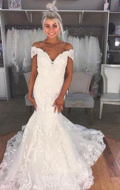Glamorous Mermaid Off-the-Shoulder Wedding Dresses 2018 Lace Bridal Gowns Sheer Wedding Dress, Western Wedding Dresses, Luxury Wedding Dress, Lace Mermaid Wedding Dress, Long Wedding Dresses, Perfect Wedding Dress, Mermaid Dresses, Wedding Dress Styles, Bridal Dresses