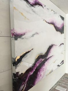 Large size White and Purple marble effect abstract epoxy resin