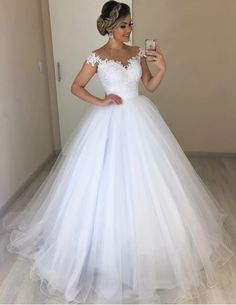 Off the Shoulder White Tulle Ball Gown Wedding Dress with Appliques Vestido de n. - Off the Shoulder White Tulle Ball Gown Wedding Dress with Appliques Vestido de novia by fancygirldr - Top Wedding Dresses, Wedding Dress Trends, Princess Wedding Dresses, Bridal Dresses, Wedding Gowns, Bridesmaid Dresses, Lace Wedding, Wedding Cakes, Wedding White