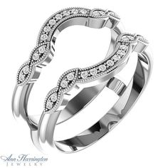 14k White Gold 1/6 ct tw Diamond Antique Style Ring Guard | Ann Harrington Jewelry, Inc
