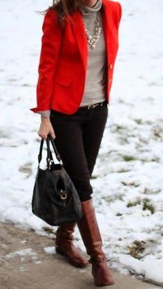Women's Red Blazer, Grey Turtleneck, Black Skinny Pants, Brown Leather Knee High Boots