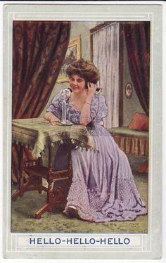 Beautiful Woman Speaking on Telephone 1900s Vintage Postcard | eBay
