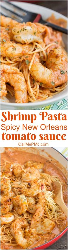 Shrimp Pasta in Spicy New Orleans Tomato Cream Sauce is a completely satisfying meal and ideal combination of flavors from hot and spicy to tangy and creamy. sea food pasta recipes Shrimp Pasta in Spicy New Orleans Tomato Cream Sauce Cajun Recipes, Fish Recipes, Seafood Recipes, Cooking Recipes, Healthy Recipes, Italian Shrimp Recipes, Yummy Recipes, Shrimp Dishes, Pasta Dishes