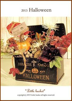 ~*Little basket*2013季節の雑貨シリーズ♪☆ハロウィントランク缶のアレンジAドライ素材とアーティシャル素材です。レッドブラウンカラーのユーカ...|ハンドメイド、手作り、手仕事品の通販・販売・購入ならCreema。