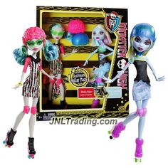 "Mattel Year 2012 Monster High ""Skultimate Roller Maze"" Series Exclusive 2 Pack 10 Inch Doll Set - ""Daughter of the Zombies"" Ghoulia Yelps and ""Daughter of The Yeti"" Abbey Bominable with 2 Helmets"