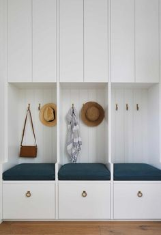 Coastal luxe meets Hamptons style in this Mornington Peninsula home Hamptons Style Decor, Hamptons House, The Hamptons, Weatherboard House, Staircase Storage, Interior Fit Out, Living Room Storage, Beach House Decor, Mudroom