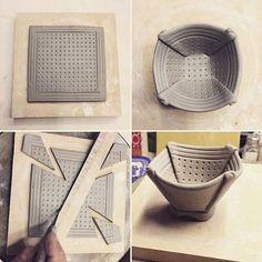 "Mini folded bowl assembly. 1 3/4"" h x 2 3/4"" w. Love making these. #foldedbowl #softslab #piatexture #handbuildingwithclay #pottersofinstagram #madeinsandiego #sandiegopottersguild #madebymerle #clayday"