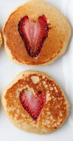 Valentine Strawberry Heart Pancakes from Weelicious   #valentinesday #breakfast #brunch #strawberry #valentine Breakfast in bed, valentine's day breakfast, valentine's day brunch