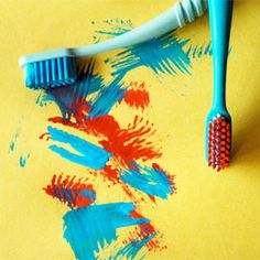 Toothbrush painting. Kids. Help your kids find a new job for an out-of-service toothbrush -- by using it as a paintbrush.