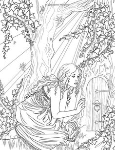 Artist Selina Fenech Fantasy Myth Mythical Mystical Legend Elf Elves Dragon Dragons Fairy Fae Wings Fairies Mermaids Mermaid Siren Sword Sorcery Magic Witch Wizard Coloring pages colouring adult detailed advanced printable Kleuren voor volwassenen coloriage pour adulte anti-stress kleurplaat voor volwassenen Line Art Black and White Enchanted: