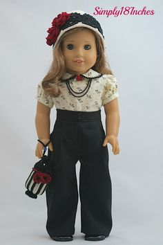 18 inch American Girl Doll Clothing. Wide Leg Wool Pants, Cotton Puffed-Sleeve Blouse, Crochet Hat and Purse, Necklaces