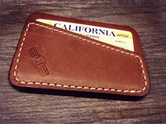 Thin wallet, copper oil tanned leather natural stitch $70 at Beefskin.com