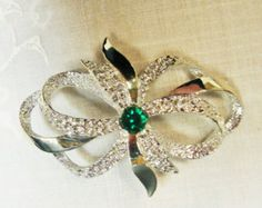 Vintage Gerrys Silver Tone Bow Brooch Emerald Green Center