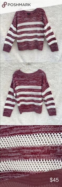 Anthropologie knit eyelet burgundy white sweater Anthro brand sweater (brand is called mine from anthropology). Eyelet white stripe sections on gorgeous soft burgundy wine red sweater. Super soft, comfy and loose. Brand new but tags have been removed. Size large but would look cute oversized on a medium too. MAKE AN OFFER! Anthropologie Sweaters
