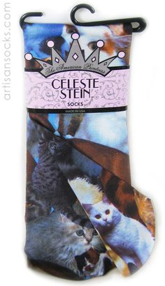 You better fucking believe I need these...Celeste Stein Cat Photo Collage on Knee High Stockings from Artisan Socks www.artisansocks.com