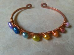 Copper Wire Wrapped Bracelet with Rainbow Pearls by CreativeClaire, $35.00