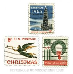 Free Printable | Vintage Christmas Postage Stamps · Scrapbooking | CraftGossip.com