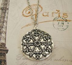 Silver Floral Locket Necklace Wedding Bride by BackstreetCreations