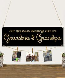 Personalized Grandma & Grandpa's Blessings Chalkboard Picture Hanger