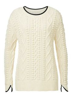 Acrylic/Wool Bobble Knit Sweater. Comfortable fitting silhouette features a scoop neck with zipper opening at left shoulder, Pu trims and dipped hem in an all over bobble knit detail. Available in Vanilla Blossom as seen below.