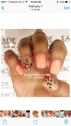 Coral floral nail designs