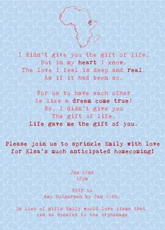 so sweet! adoption shower invitation. adorable wording for a different situation.