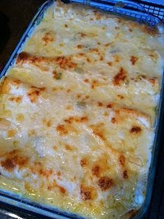 White Chicken Enchiladas-this recipe is HOT on pinterest so just may have to try this one.      1. This recipe calls for diced green chilies.  Don't let that fool you, these are NOT spicy in the least.  My 3 year old and 1 year old love them.   2. If you would like, you can substitute Greek yogurt for the sour cream in the recipe.  It is a 1 for 1