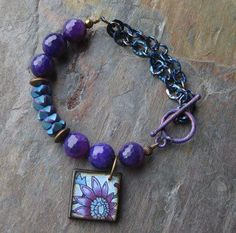 Kristy Abner - Kristy's Kreations - beautiful mix of Patina Chain (Miss Fickle Media), JLynn Contemporary Print Tile Charm in blues and purples (one of my favorite color combos) JLynn Jewels facebook