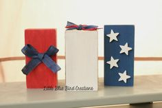 Red White and Blue wood block set  by littlebluebirdcreate on Etsy, $12.00 www.littlebluebirdcreate.etsy.com