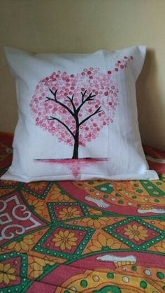 Easy pillow cover design... Fabric paints