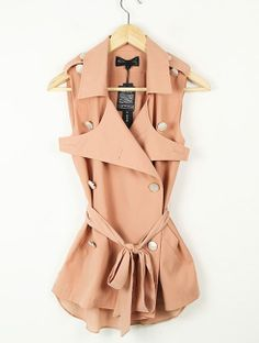 Solid Pink Lapel Sleeveless Double Breasted  Slim Chiffon Shirt