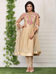 Shop Beige Kalidar Cotton Silk Suit Set By Rohit Bal online at Biba.in - RB4745BEG