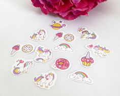 A pack of 55 unicorn die cut stickers made up of 11 different designs. Ideal for planners, journals and scrapbook in, as well as for decorating cards, gifts and most other things. Stickers measure approximately Scrapbook Stickers, Planner Stickers, Unicorn Gifts, Stocking Fillers, Die Cutting, Washi, Pink Purple, Planners, Journals